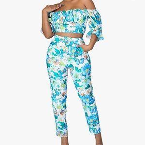 2 Pieces Outfits Crop Top Slim Fit Long Pants